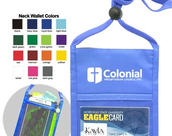 """50 Pcs Personalized Printed Double Window NECK Wallets Top Quality w/ 1 color LOGO/TEXT Custom wallet w/ Printed 3/8"""" Lanyard"""