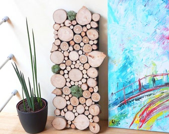 Wood log table, wall hanging wood log, moss green stabilized