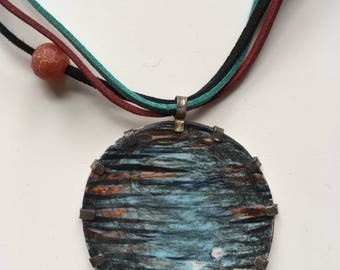 handmade, jewellery, necklace, pendant, ceramic, woman, metal, feminine, disk shape, planet, casual