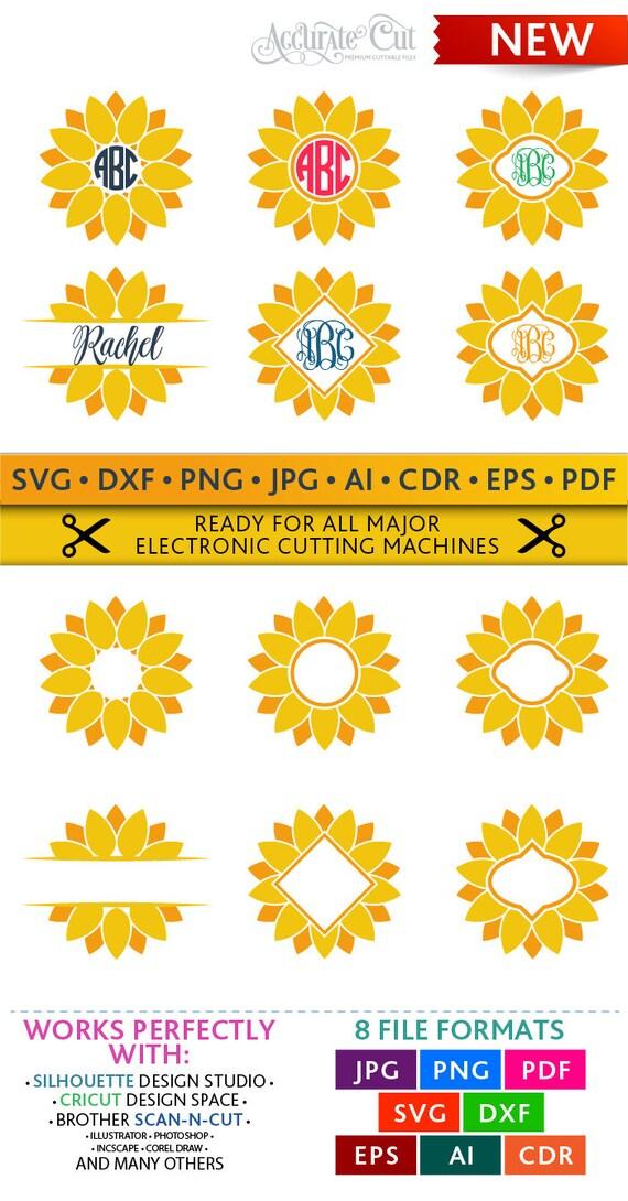 sunflower svg sunflower monogram frames svg sunflower cut files silhouette studio cricut scanncut svg dxf jpg png eps pdf ai cdr from accuratecut on etsy - Sunflower Picture Frames