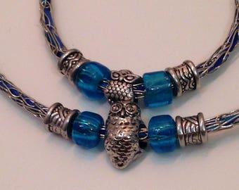 Blue Owls Necklace and Bracelet Set