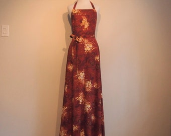 Vintage 1970's Maxi Wrap Dress; 70's Halter Dress; Empire Waist Dress