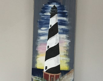 Sunset Lighthouse Hand Painted on Reclaimed Recycled Wood: New England Lighthouse Pallet Art Wall Art Signs