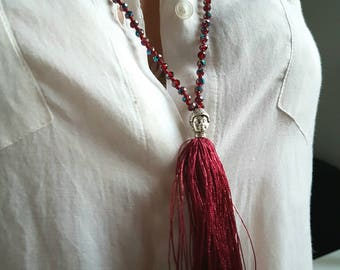 Saltire in pearls, Buddha and bordeaux red Pompom - Collection maladeads