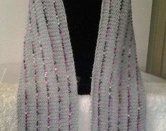 Beaded Knit Scarf with Beautiful Eye - Catching Glass Bead,Platinum Knitted Scarf with Beads,