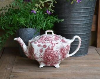 Johnson Bros English Chippendale Tea Pot, Red Transferware