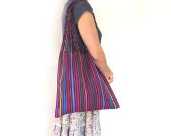 Loom Tote handbag - Purple stripes - Mexican Bag
