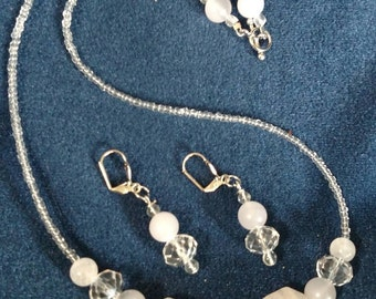 White and Clear Beaded Necklace and Matching Earrings