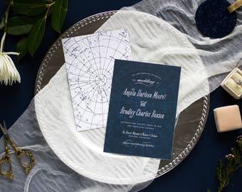 Star Wedding Invitation Navy Blue, Starry Night Wedding Invitation Blue, Whimsical Wedding Invitation Suite, CELESTIAL SUITE