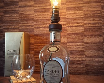 Cardhu Gold Reserve Whisky Bottle Lamp With Edison Filament Lightbulb Upcycled 70cl