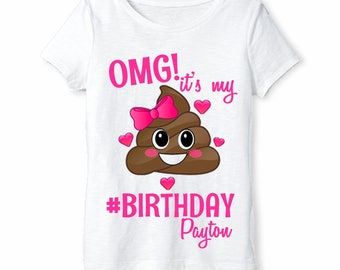 Emoji Shirt - Girls Poop Emoji Birthday Shirt Personalized with Name