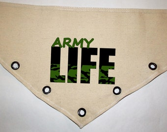 Unique grommet accent Canvas dog pet BANDANA military Army Life camo green black tie-front or over the collar! XS S M L XL