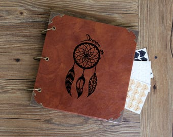 Personalized Dream Catcher Leather Photo Album /Custom Wedding Guest Book/wedding Scrapbook
