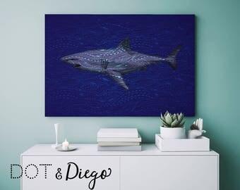 Blue Shark Wave Sea Print, Print,Printable,Nautical,Digital Print,Nursery,Wall Art,Turquoise,living room, Bedroom,Bathroom, A4 size,Download
