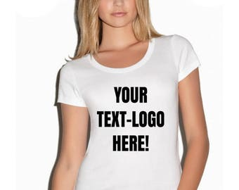 Personalized round scoop neck women's t-shirt, new fashion top custom shirt size S-XL customized text-glitter-image available perfect gift!