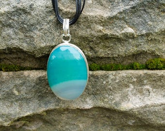 Turquoise Agate Pendant Necklace, Sterling Silver Gemstone Necklace, Agate Necklace, Gemstone Pendant Necklace