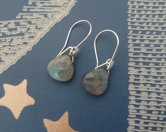 Sterling silver and labradorite briolette earrings