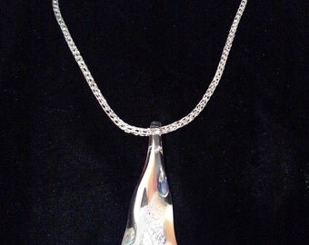 Hand woven silver Viking knit chain with handmade glass pendant