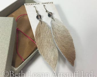 Natural Cowhide Boho Cowgirl Statement Earrings