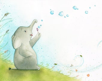 small elephant and its bubbles, illustration, original drawing, bubbles, art for kids, kid's room décor, painting, watercolor
