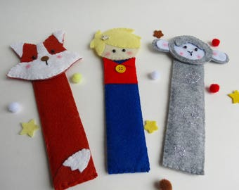 3 Felt bookmark set-Little prince bookmark-Fox bookmark-Lamb bookmark-Little readers gift-Back to school gift-children's bookmarkers