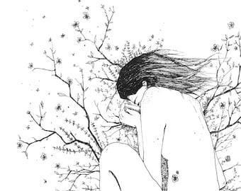 Sleeping Nature Fine Art Ink Print