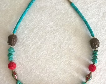 """925 Coral Turquoise, Cinnabar, carved wood Buddah and Nepalese beads necklace with brass beads 25.5"""""""