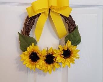 Sunflower wreath, sunflower, floral wreath, flowers, flower wreath, small summer wreath, summer, summertime, sunny