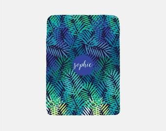 Personalized Blanket Adult, Tropical Blanket, Palm Leaf Decor, Fleece Blanket, Throw Blanket, Blue Blanket, Cozy Blanket, Green Blanket,