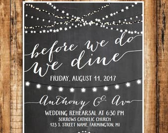 "Wedding Rehearsal Dinner Invitation, ""Before We Do, We Dine"" Invitation"