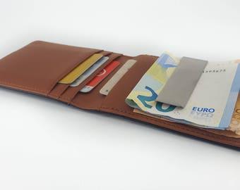 Money clip, leather purse, slim money clip for men, money clip wallet