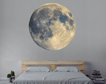Moon Wall Decal - Space Wall Decal - Moon Wall Art - Constellations Outer Space Decor - Moon Vinyl Wall Decal