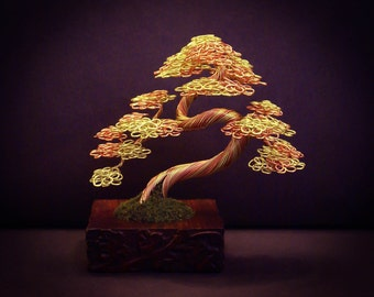 Wire Bonsai #26 - Green and copper slanting 'informal upright'.