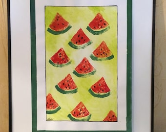 Paint watermelon watercolor and Gouache original minimalist Motif
