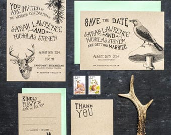 Woodland Animal Wedding Invitation Set of 4 Printable, Printed on Kraft Paper