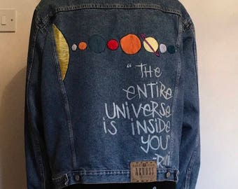 Button Bombed Denim Jacket with Solar System Detailing (Inspired by Dizzee Kipling from The Get Down)