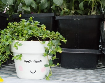 Hand Painted Blushing Face Plant Pot