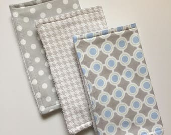 Baby Burp Cloths Set of 3, Baby Shower Gift, Baby Boy Burp Cloths, Terry Burp Cloths, Burp Rags, Gray/Blue, Baby Gift, FAST shipping