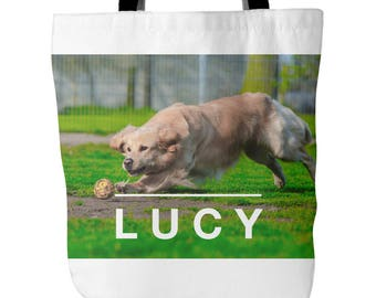 Custom Pet Golden Retriever Tote Bag: Golden Retriever Totes Gifts For Dog Lovers.  Bags With Your Golden Retrievers Name.