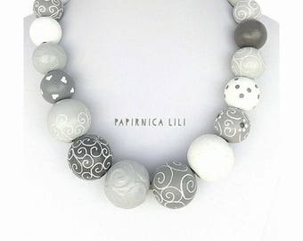 Wooden beads Grey Necklace
