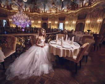 Tulle Wedding Dress, Tulle Skirt, Strapless Tulle Wedding Dress,Bridal Gown