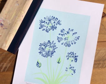 Blue Agapanthus Flowers Screen Print A3. Hand-pulled. Original Design.