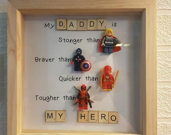 Superhero Scrabble Fathers Day Frame
