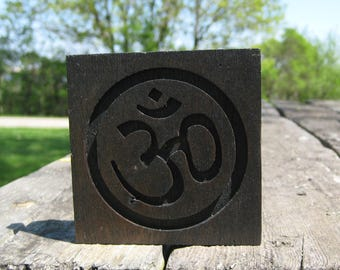 Reclaimed Wood Mahogany Om Symbol Plaque - Ebony