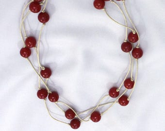 Red glass beads multi row necklace