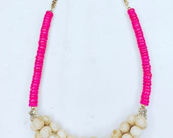 Beatrice cute beige and pink beaded handmade necklace