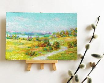 "MINI 4x7"" Original oil painting artwork countryside landscape river plein air art home decor book shelf living room bedroom decor field"