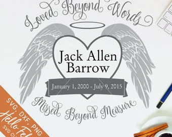 Memorial Svg, Loved Beyond Words Svg, Angel Wings Svg, Png, Dxf, Jpg, Svg files for Cricut, Svg files for Silhouette, Vector Art, Clip Art