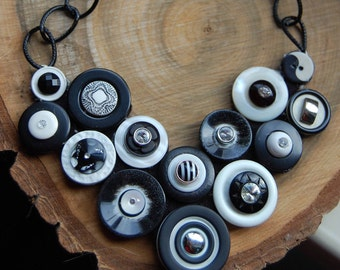 Black And White Button Necklace Beautiful Mother's Day Gift Statement Necklace Vintage Recycled Button Necklace Jewelry