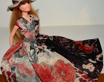Barbie doll  clothes # Barbie vintage flower print dress # Barbie  vintage hat# barbie accessories.
